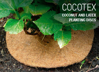 Coconut and latex planting discs.