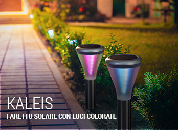 Faretto solare con luci colorate e LED a spirale